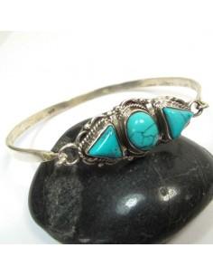 Bracelet jonc en argent et turquoise