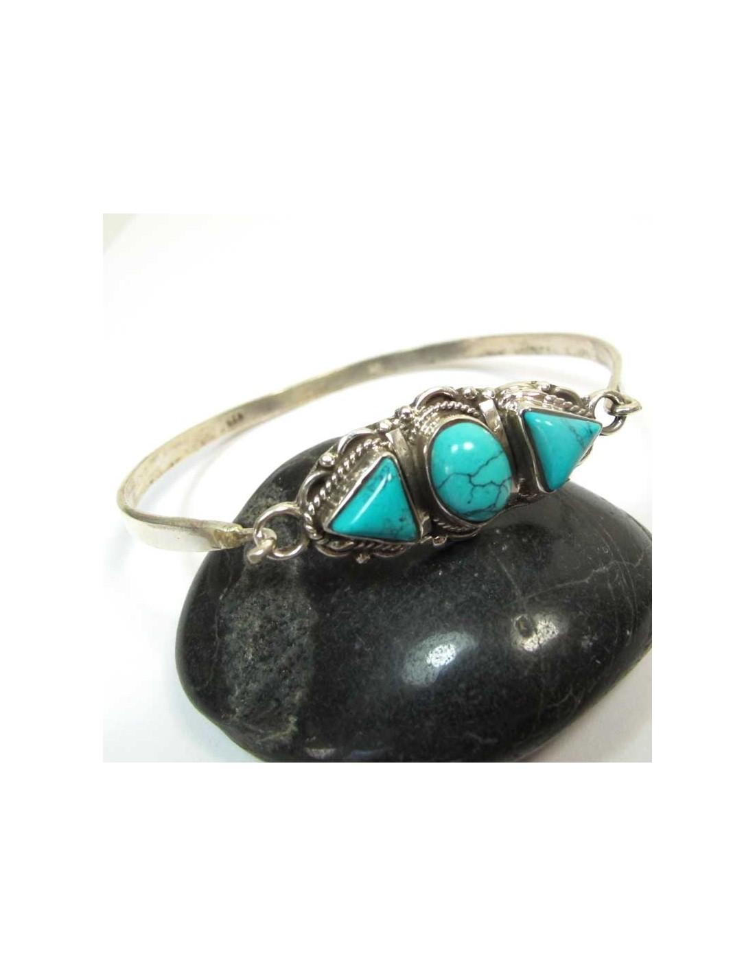 bracelet argent et turquoise bijoux en turquoise br70. Black Bedroom Furniture Sets. Home Design Ideas