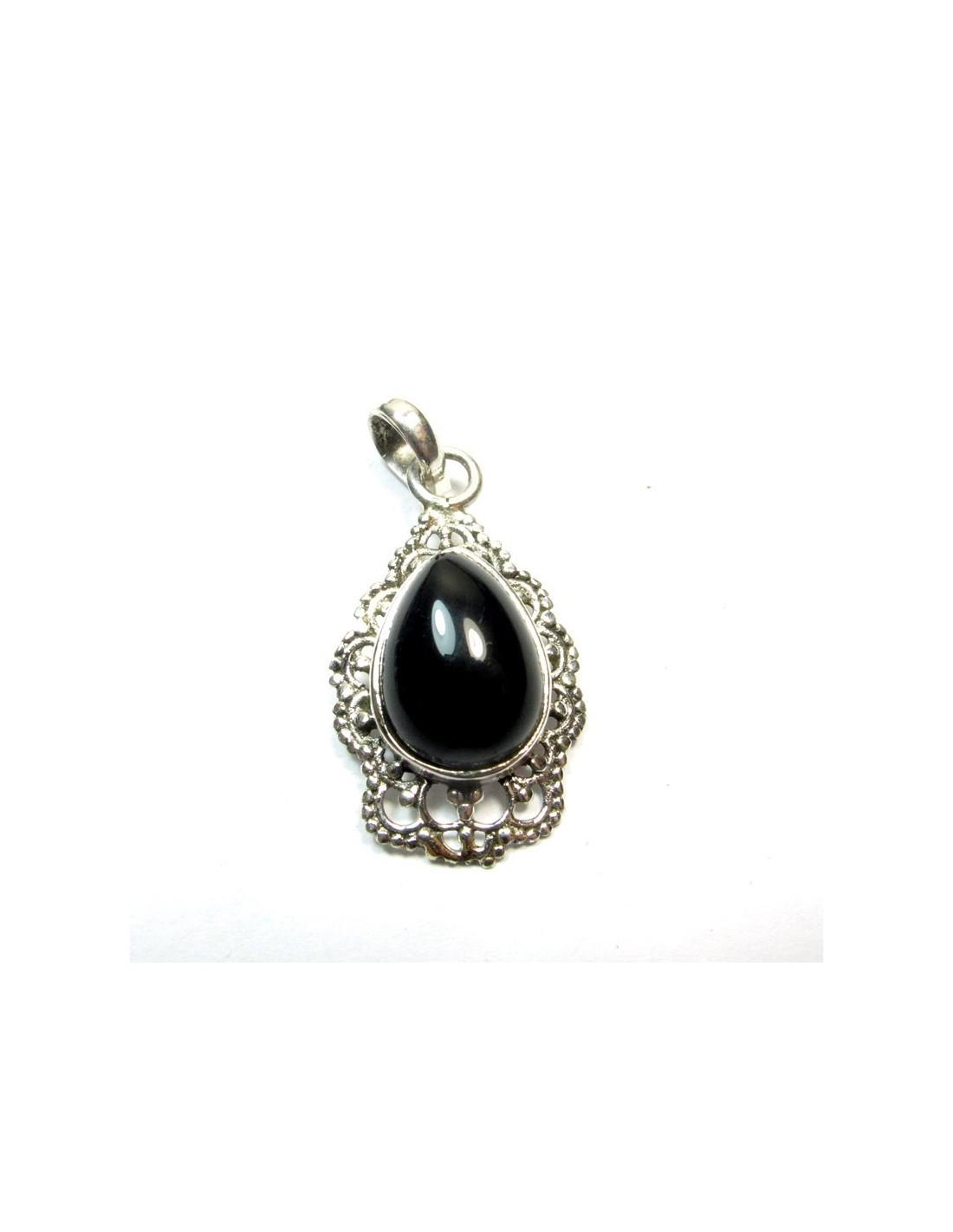 pendentif argent et onyx pierre onyx noir p105. Black Bedroom Furniture Sets. Home Design Ideas