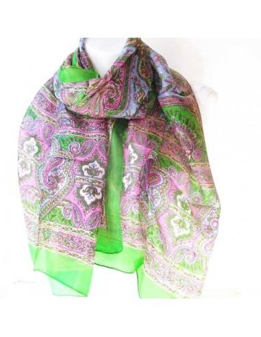 Foulard en soie vert et rose