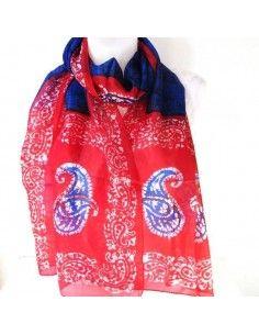 Foulard en soie rouge et bleu
