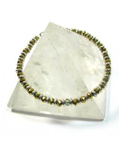 bracelet fin à perles dorées fascétées