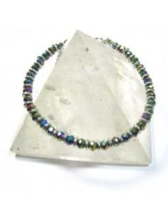 bracelet fin en perles fascétées irisées