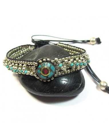 bracelet argenté et turquoise à noeud coulissant