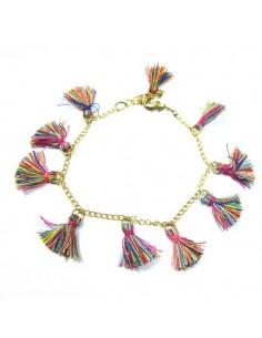 bracelet à pompons multicolores