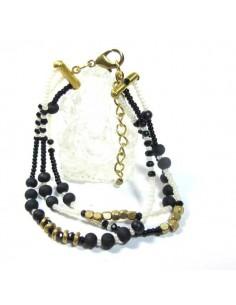 bracelet 3 rangs en perles noires et blanches
