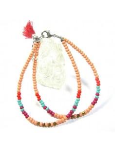 bracelet 2 rangs perles rosées