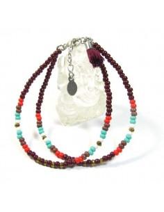 bracelet 2 rangs perles bordeaux et turquoises