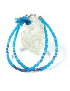bracelet 2 rangs turquoises et bleues