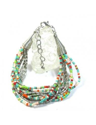 bracelet 12 rangs de perles multicolores et argentées