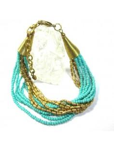bracelet 12 rangs perles dorées et turquoises