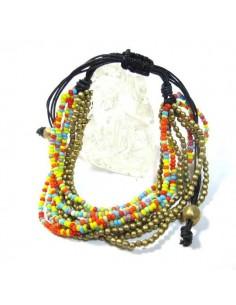 bracelet 10 rangs de perles colorées