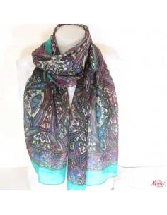 Foulard en soie turquoise violet et rose