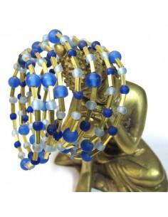 bracelet spirale à perles dorées et bleues