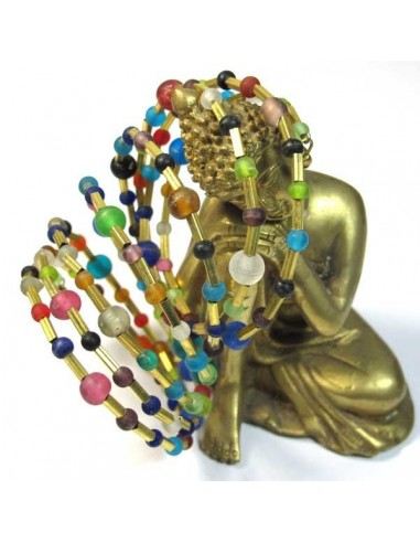 bracelet spirale et perles multicolores