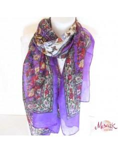 Foulard violet à fleurs
