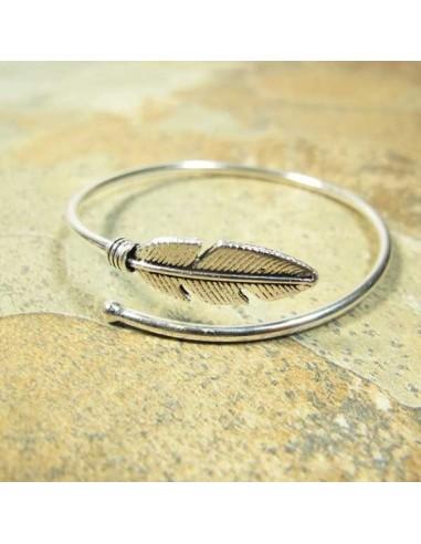 bracelet fin argenté feuille