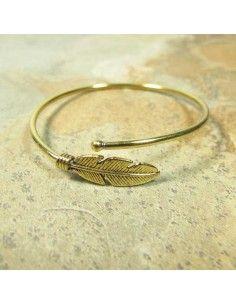 bracelet  laiton doré motif feuille