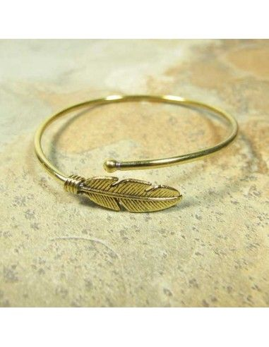 Bracelet ajustable doré motif feuille - Mosaik bijoux indiens