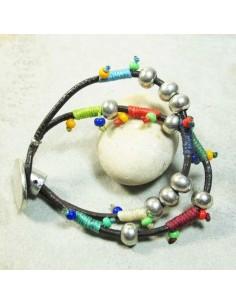 bracelet ethnique coton tressé et perles argentées