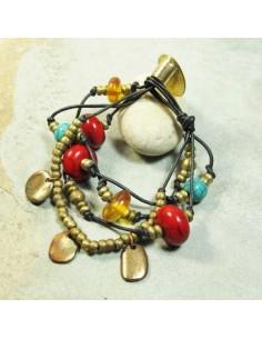 bracelet doré cuir et perles