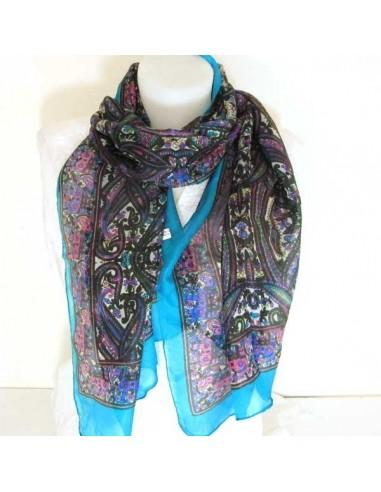 Foulard en soie turquoise et noir