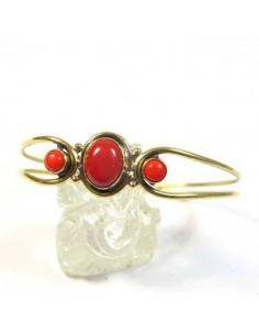 bracelet en laiton et pierres rouges