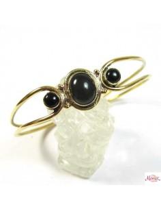 bracelet en laiton doré et pierre noire