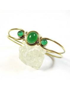 bracelet en laiton doré pierres vertes