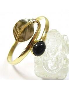 barcelet doré feuille et pierre noire