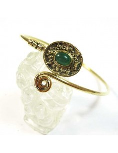 bracelet doré spirale et perle verte