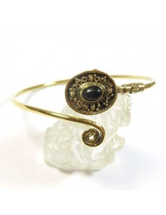 bracelet doré pierre noire et spirale