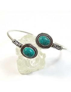 bracelet argenté et 2 pierres turquoises
