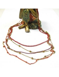 collier fin 5 rangs rouge