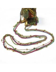 collier long 5 rangs rose et turquoise