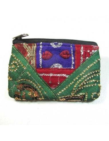 porte monnaie à paillettes vert et rouge