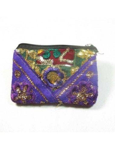 porte monnaie à pailettes violet et vert
