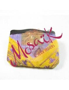 Porte monnaie à paillettes jaune et violet