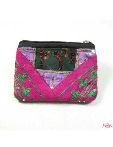 porte monnaie à pailletes rose et violet