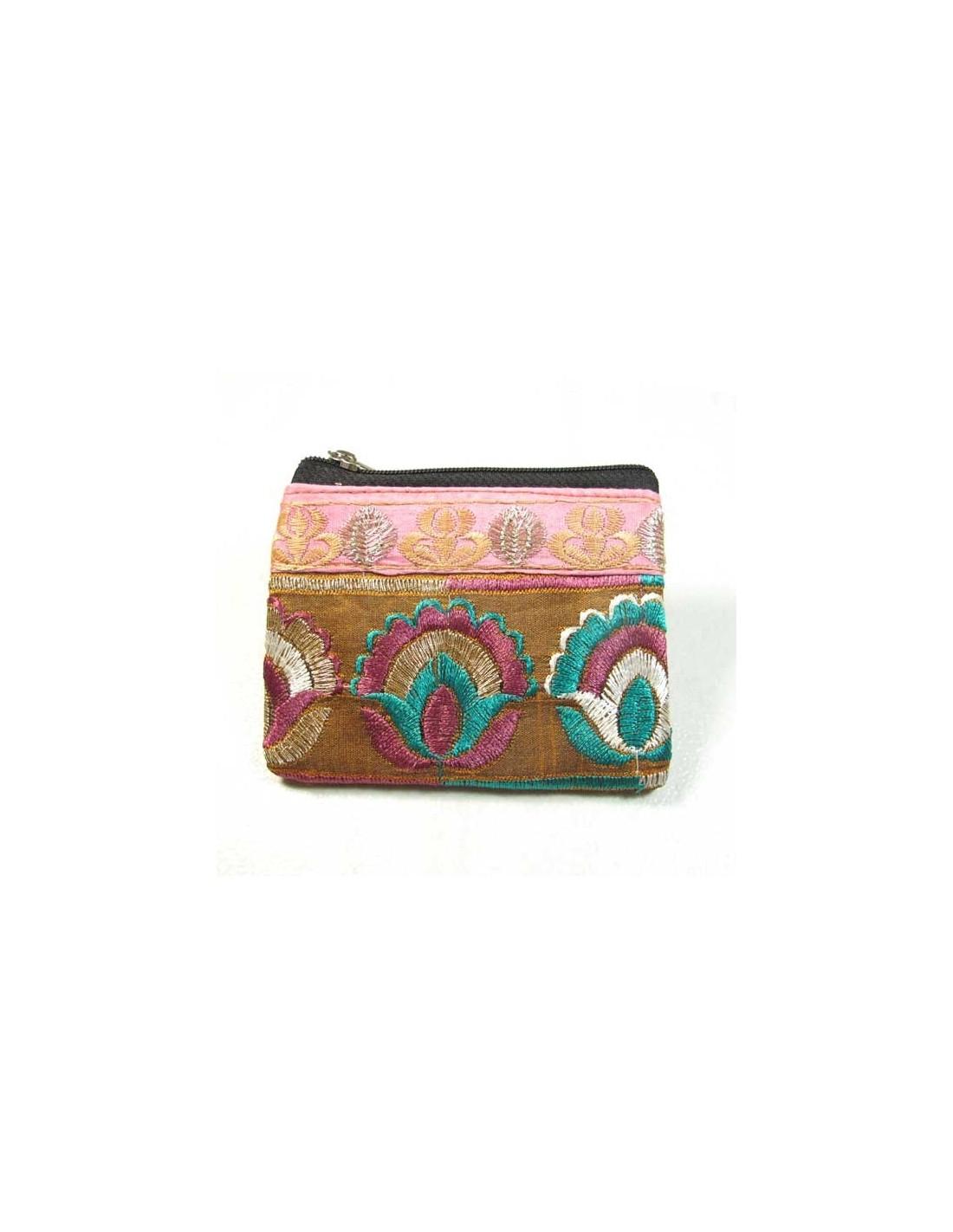 Porte monnaie petit en tissu brod pochettes indiennes - Porte monnaie en tissu ...
