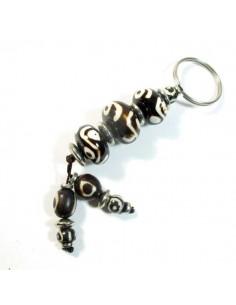 porte-clé perles marrons