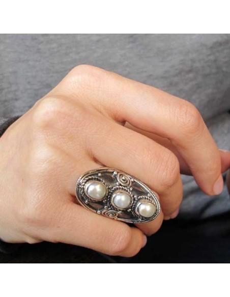 Bague argent allongée et perle - Mosaik bijoux indiens