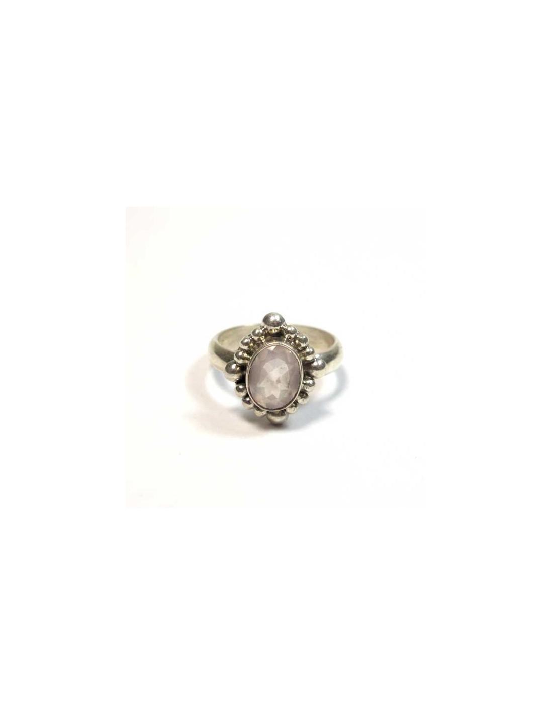 bague argent quartz rose pierres roses bp1094. Black Bedroom Furniture Sets. Home Design Ideas