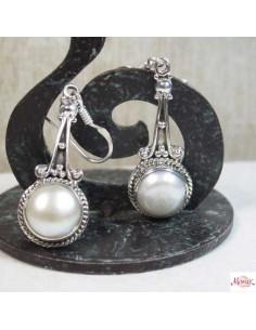 Boucles d'oreilles ethniques en argent et perles - Mosaik bijoux indiens