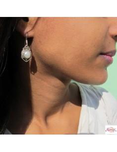 Boucles d' oreilles argent et perles  2