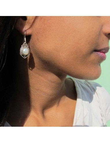 Boucles d' oreilles argent et perles