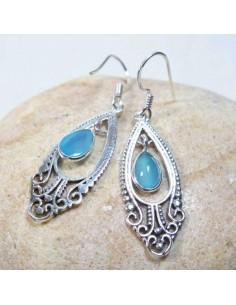Boucles d'oreilles argent et onyx bleu