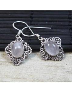 Boucles d'oreilles argent et quartz rose