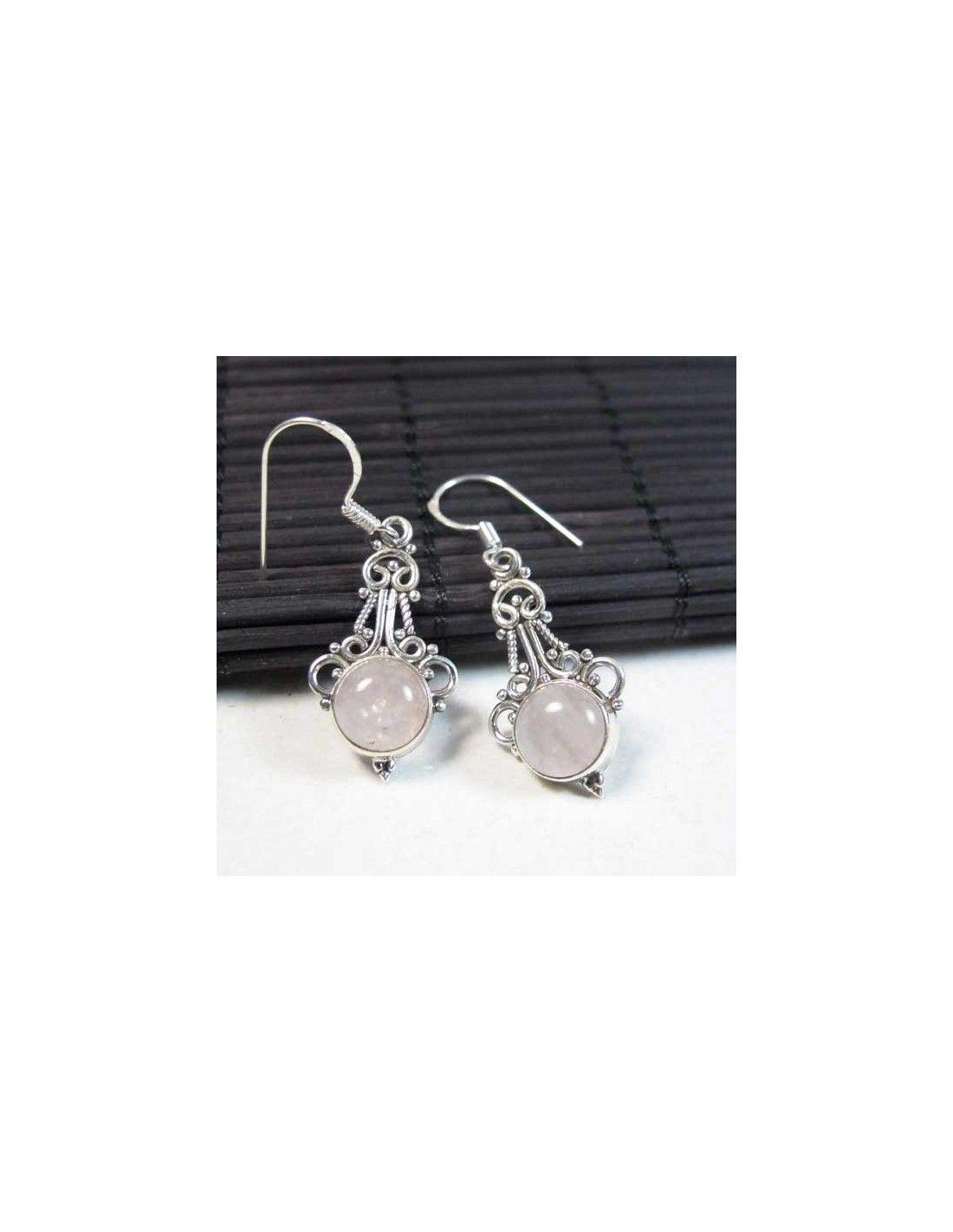 Bijoux Argent Quartz Rose : Boucles d oreilles argent et quartz rose bijoux