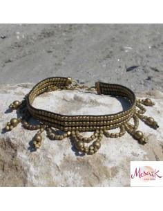 Large chaine de cheville perles dorées 2